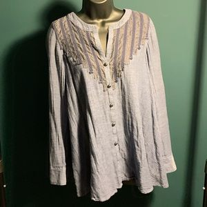 NWOT Free People blue button up blouse top (5/$95)